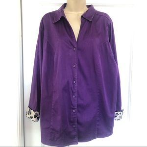 Lane Bryant Purple Button Front Shirt Leopard Trim